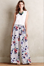 NEW Anthropologie Elevenses Ambrosia Wide-Leg Palazzo Pants Trousers Gray Floral
