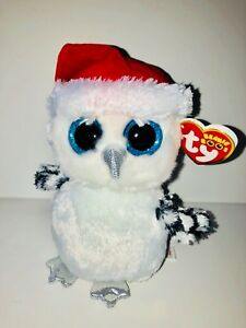 Image is loading TY-TINSEL-BEAUTIFUL-SNOW-OWL-BEANIE-BOOS-NEW- 0b49dec5bf8d