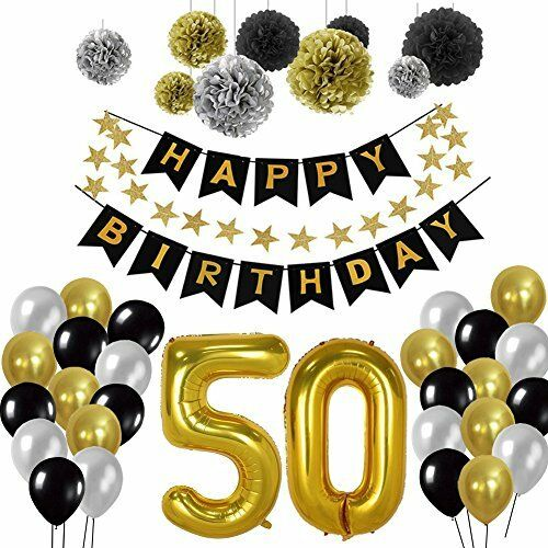 50th Birthday Party Decorations Kit Gold Number 50 Ballon 30pcs Black Silver A