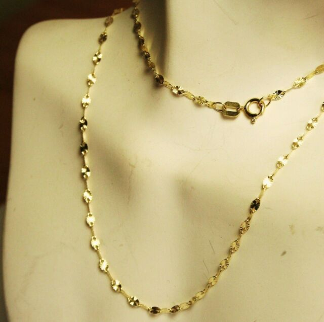 14k solid yellow gold 18 inches long star link very sparkly chain