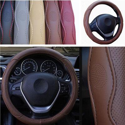 38CM Embossed PU Leather Car Steering Wheel Cover Protector Anti-slip All Season