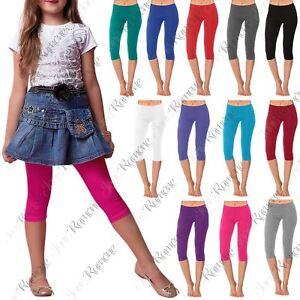 New-Girls-Kids-Gymnastics-Dance-Cotton-Plain-Cropped-3-4-Leggings-Capri-Pants