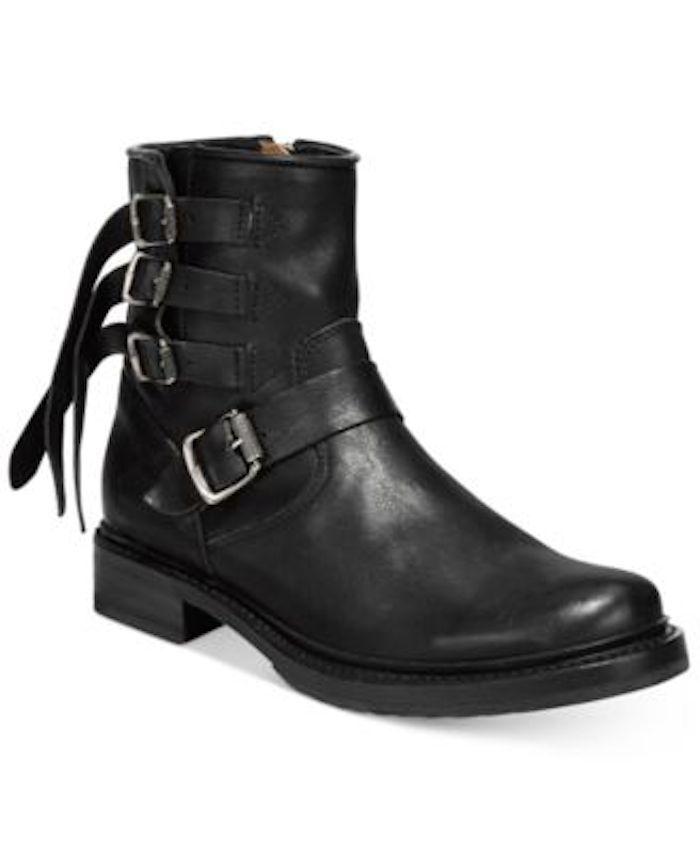 FRYE Veronica Buckle Leather Moto Ankle Boot Black Sz 8 428 NIB