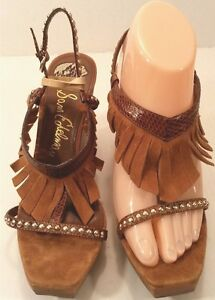 60bc7981a Sam Edelman Justine Brown Leather Fringe T Reptile Studs Wood Wedge ...