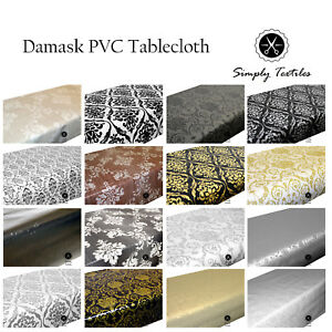 Wipe Clean PVC Tablecloth Oilcloth Vinyl Multiple Sizes and Designs Damask