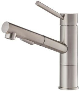 Details about KRAUS Kitchen Faucet Sink Single Handle Pull Out Sprayer  Lever Stainless Steel