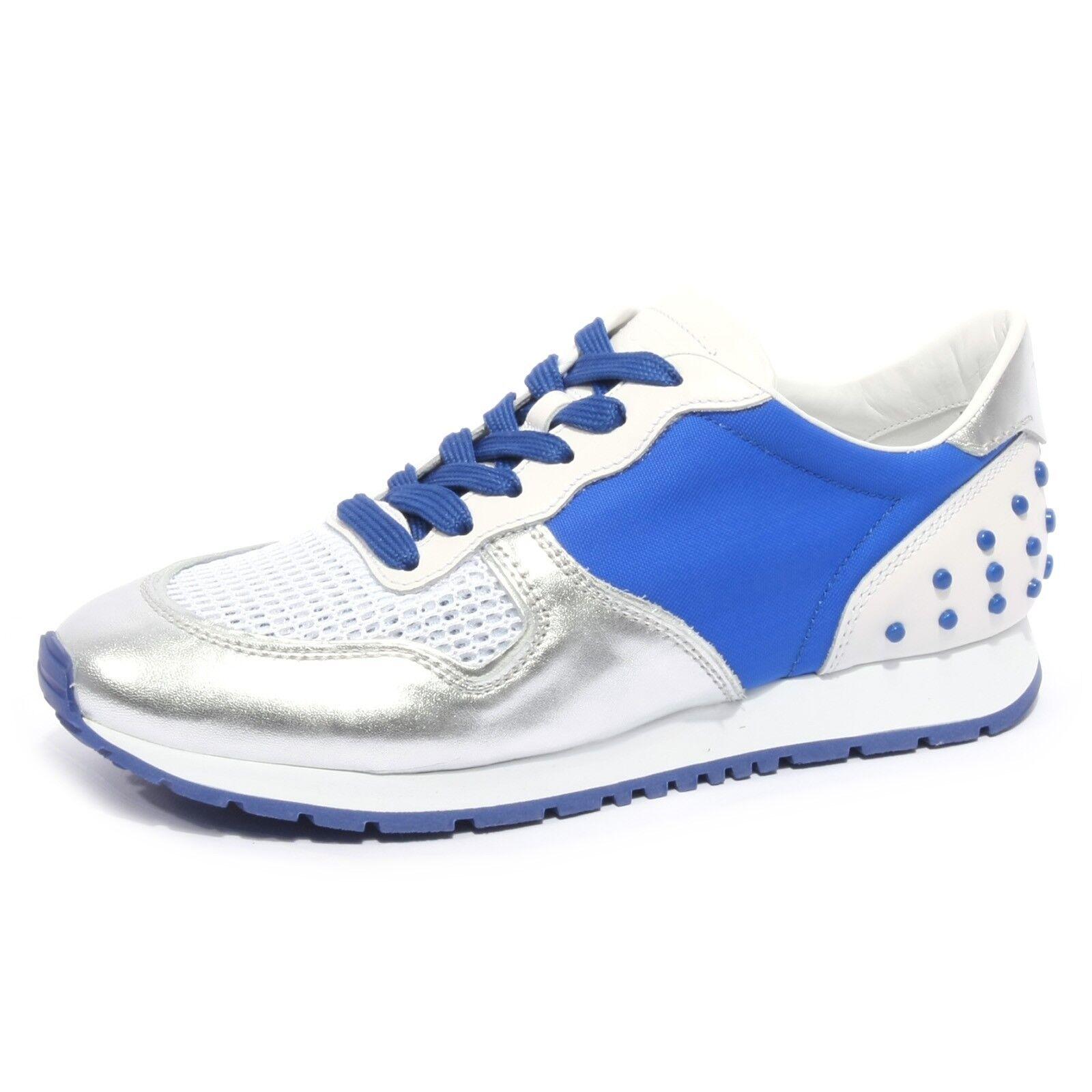 B1974 donna scarpe da  ginnastica TOD'SPORTY Yo Laced argento  blu scarpe Woman  consegna gratuita