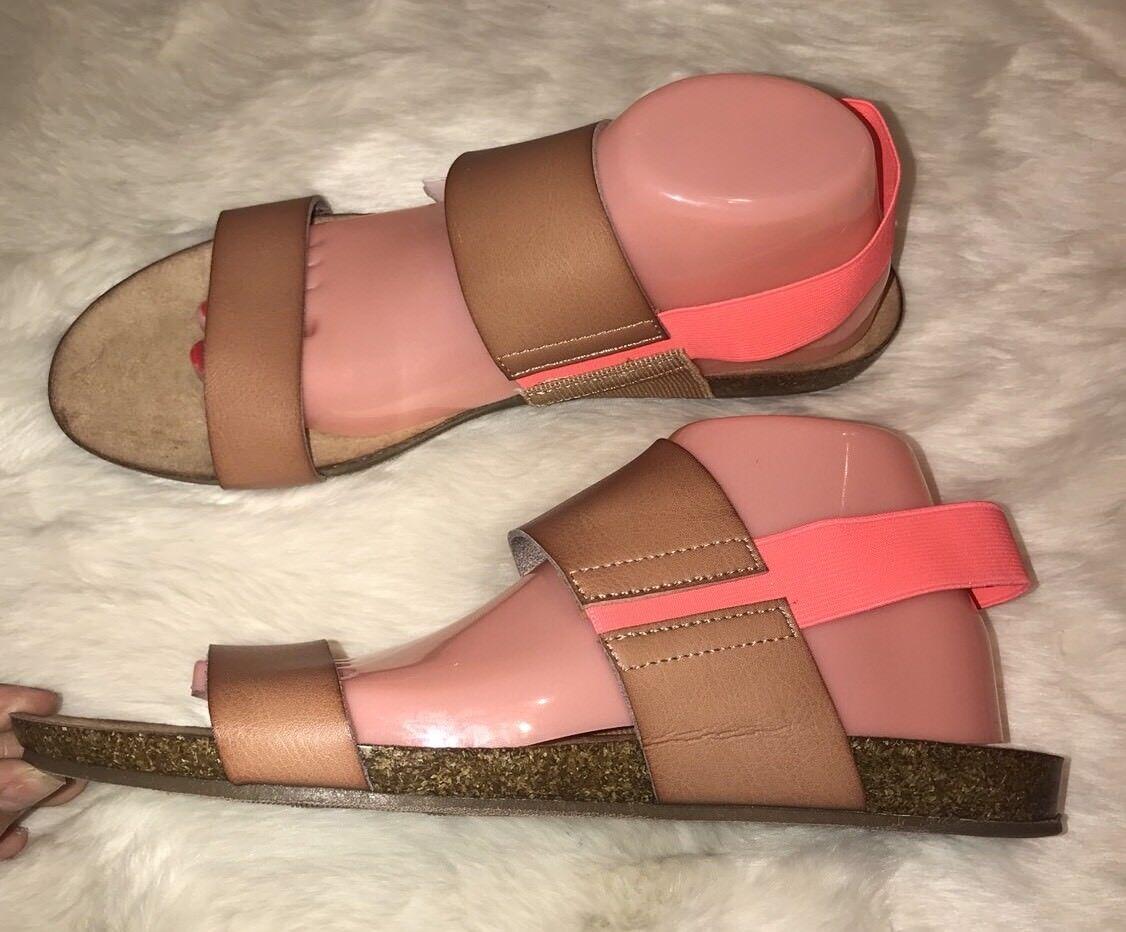NWT Low Merona Women Two Tone Cognac Makenna Toe Strap Low NWT Wedge Sandals Sz 11 019edf
