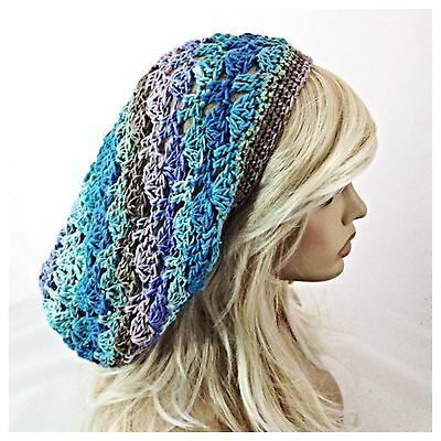 NEW Handmade Women/'s SLOUCHY Baggie BEANIE HAT Blue Purple Green MOSAIC AMBROSIA