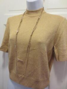 b41f7024f8d685 ST. JOHN By MARIE GRAY Womens GOLD GLITTER SANTANA KNIT Top SWEATER ...