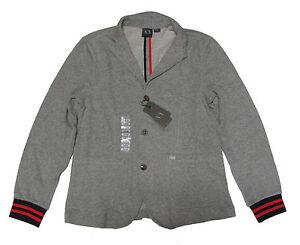 Armani-Exchange-A-X-Mens-Gray-Slim-Fit-Sport-Coat-Blazer-Cardigan-Sweater-Jacket