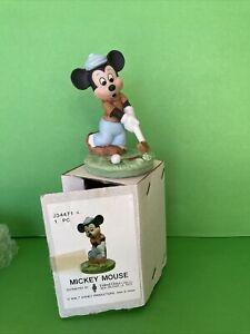 "Walt Disney Productions Bisque Porcelain Golfing Mickey Mouse 4"" Figurine NIB"