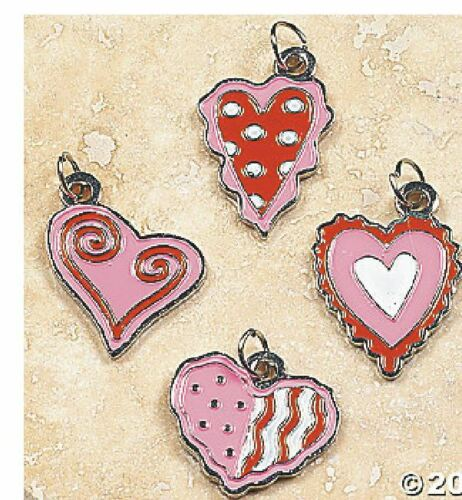 SET OF 4 Heart CHARMS Enamel For Bracelet Earrings C15 Love