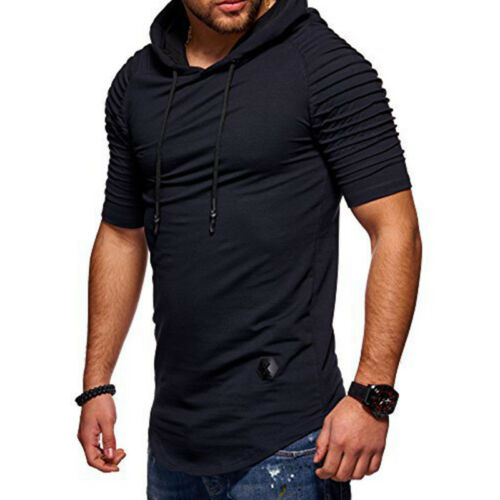 Mens Slim Fit Gym Muscle Hoodies T-shirt Tops Sports Long Sleeve Pullover Hooded