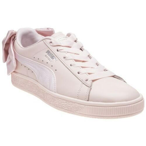 New Womens Puma Pink Natural Basket Bow Leather Trainers Court Lace Up