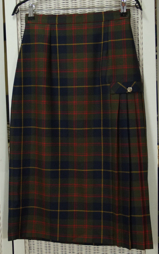 BORDER-KILTS Vintage Wool Tartan Kilt 27  Waist Plaid Long Skirt Pleated at Hip