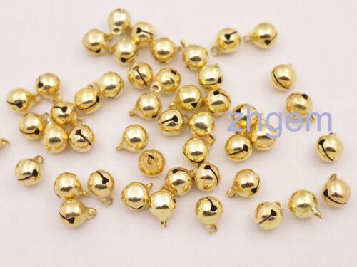 100 PCS Cute Golden Metal Jingle Bells For Crafts Chrismas Tree Wreaths 7.5*10mm