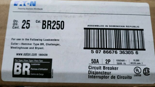 Cutler Hammer BR250 Eaton Molded Case Circuit Breaker 2 pole 50 amp 120 Volt