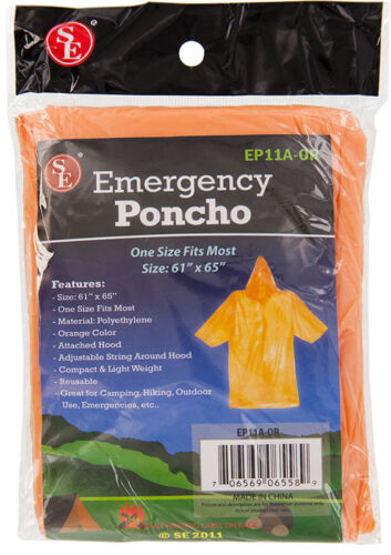 New Pack of 2 Emergency Rain Poncho Orange Hood Reusable One Size Fits Most