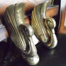 """2 Vintage Brass Art Deco Hollywood Regency Swan Vases Wall/Free Standiing 6"""""""