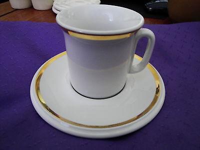 5 Vtg Acf White Gold Espresso Cup /saucer Com'l Grade