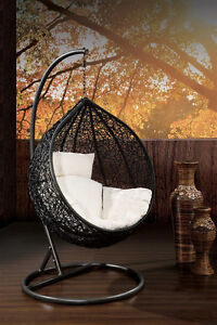 outdoor hanging egg pod chair black basket with beige
