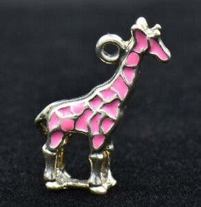 3 pink enamel and multi-colored rhinestones giraffe charms silver tone