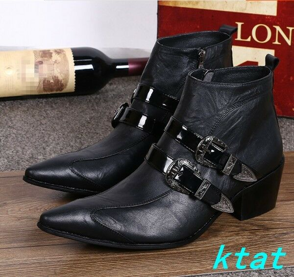 Mens Punk Black Block High Heels High Top Shoes Pointy toe Ankle Boots Military