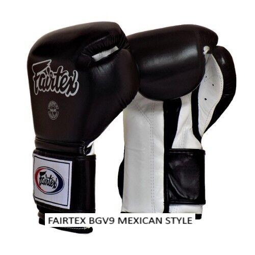FAIRTEX BGV9 BLACK WHITE MEXICAN STYLE KICK SPORTING LEATHER MUAY THAI GLOVES