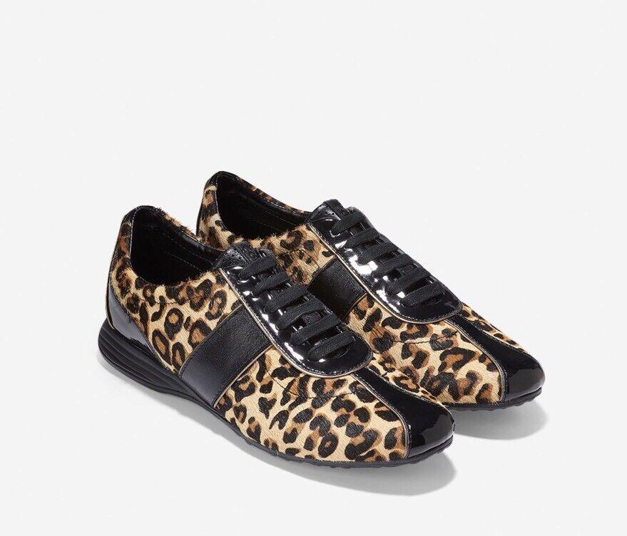 New Cole Haan womens 8 (medium) Black Bria Grand Sneaker in Cheetah calfhair