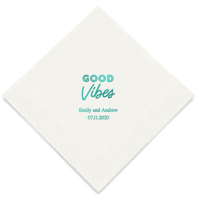 100 Good Vibes Personalized Wedding Luncheon Napkins