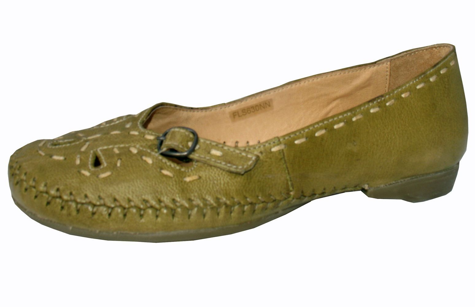 Ladies Green Leather Soft Flexible Womens flat shoes Moulded Sole Comfort NEW