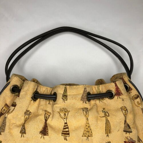 Vintage South American Embroidered Bag with Wood Handle and Fringe Small Woven Fabric Boho Bird Peacock Andean Peruvian Textile