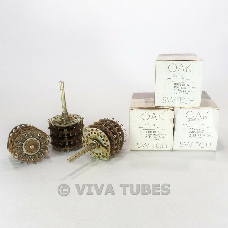 NOS NIB Vintage Lot of 3 Oak 399648-L Stock Rotary Switches 3 POL 2-18 POS 3 SEC