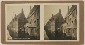 Belgium-Bruges-Ospedale-Saint-Jean-Foto-Stereo-P28T4n1-Vintage-Analogica-c1900