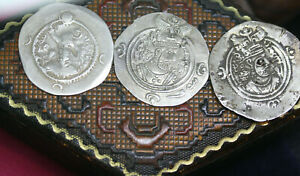 Antiquity-Lot-of-3-Sasanian-Coins-Empire-King-Khosrow-II-590-628-AD-Estate-Box