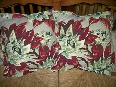 1930s BARKCLOTH PILLOW SHABBY TROPICAL FLOWERS BEACH COTTAGE CHIC Lg 2 AVAILABLE