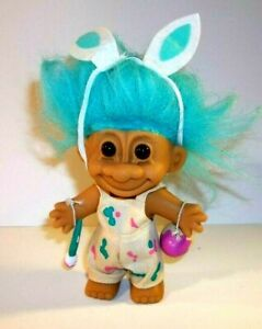 Vintage Russ Troll Doll with Easter Bunny Ears and Rainbow