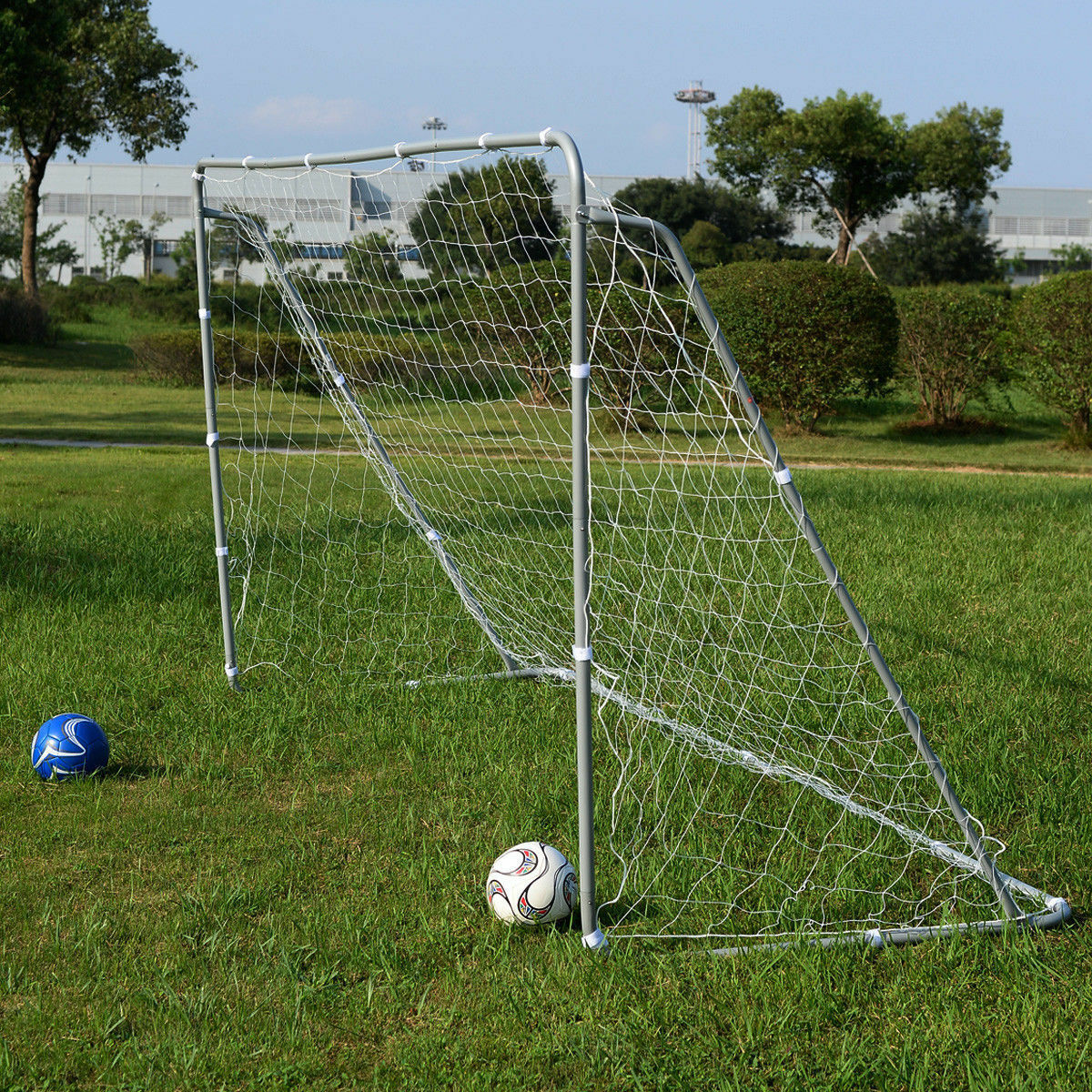 New Soccer Goal 12' x 6' Football W Net Straps, Anchor Ball Training Sets