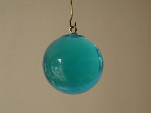 6 BOULES TOURQUOISE mm 32 PAMPILLES CRISTAL MURANO