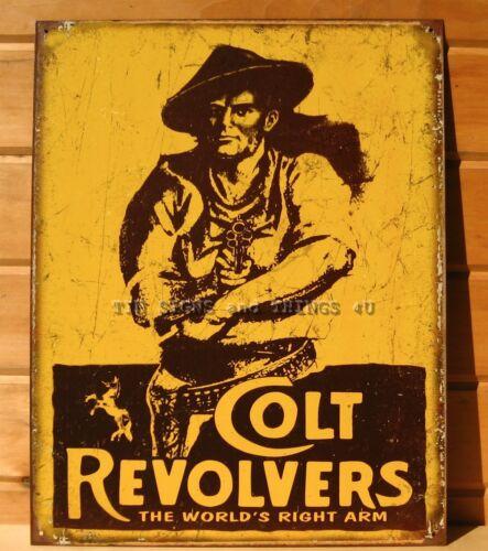 Colt Revolvers World/'s Right Arm TIN SIGN vtg shoot gun ad metal wall decor 1789