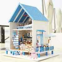 Wooden Miniature Dolls House Dollhouse Diy Kit - Beach Villa/english/furniture