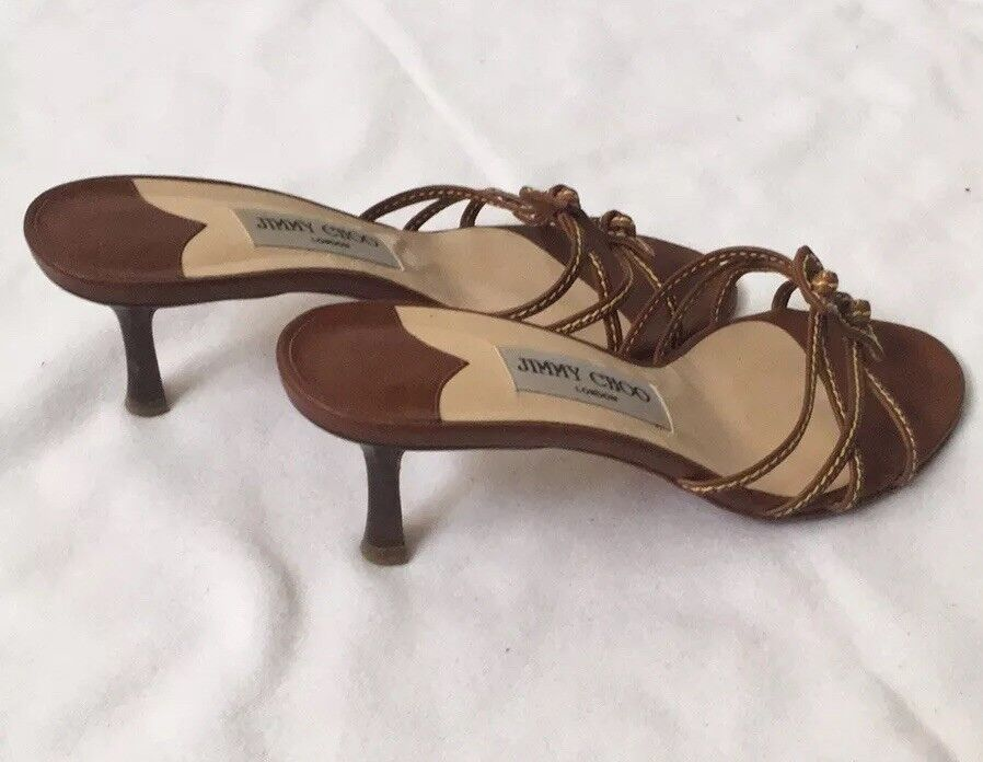 Jimmy Choo Marronee Sandals Low Heel Heel Heel 36.5 EU Authentic 601444
