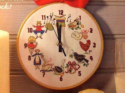 12 Days Of Christmas Cross Stitch.X5 12 Days Of Xmas Motifs Clock Christmas Cross Stitch Chart Ebay