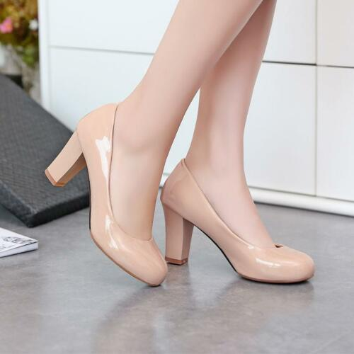Women/'s Pumps Round Toe Dress Court Patent Leather Block Chunky High Heel Shoes