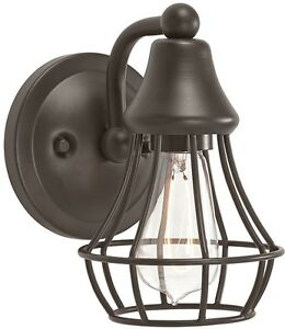 Rustic wall sconce single cage light fixture bathroom Rustic bathroom vanity light fixtures