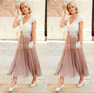 Details about Short Tea Length Mother of the Bride Dress Plus Size Formal  Mother Evening Gown