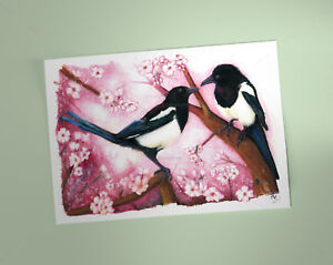 Magpies-pair-Art-Print-British-Garden-Birds-of-watercolour-pencil-drawing