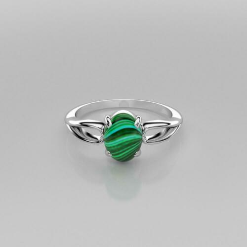 Natural Malachite Ring Sterling Silver Cabochon Oval-Cut Split Shank Ring