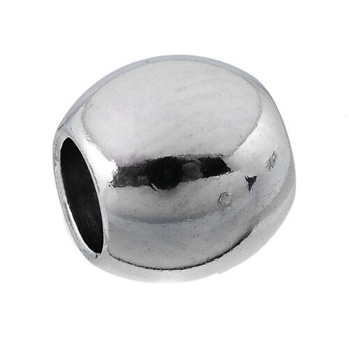 10PCs acier inoxydable Ton argent Rond Solide Perles 8x7mm